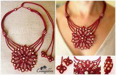 "✿""Cosmic flower"" macrame necklace ✿ Design and tutorial by Yuna Titarenko https://www.facebook.com/evangelilies/photos/a.1558019131149195.1073741832.1533543136930128/1800371926913913/?type=3&theater"