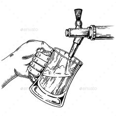 Buy Beer Pours Glass From Beer Tap Engraving Vector by AlexanderPokusay on GraphicRiver. Man pours beer into glass from beer tap engraving vector illustration. Beer Cartoon, Cocktail Illustration, Beer Shop, Black And White Cartoon, Beer Poster, Beer Taps, Hand Sketch, Beer Signs, Designs To Draw