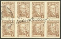 Argentina GJ.737P, 1935 1c. Sarmiento, fantastic IMPERFORATE block of 8, with handstamp and signature of Postmaster Rizzo Dominguez (only known thin way, see note in page 139 of the GJ catalog), legendary and until now unknown variety that the collectors specializing in this issue assumed was non-existent. Possibly unique, and thus also largest multiple! Catalog value US$1,500 x4 pairs + 30% (MNH) = US$7,800