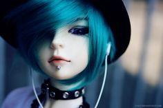 ✿• ' bjd ' ~ ' ball jointed doll ' •✿ blue hair. . .colored hair. . .listening to music. . .earbuds. . .collar. . .hat. . .piercing. . .gothic. . .miniature. . .cute. . .kawaii