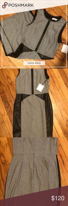 Calvin Klein Dress -SIZE 4 -BLACK/EGGSHELL -DRY CLEAN ONLY -66% POLYESTER, 30% RAYON 4% SPANDEX Calvin Klein Dresses