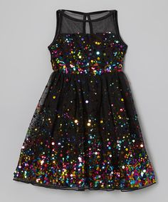 Take a look at this Black & Rainbow Sequin Illusion Dress on zulily today! ONLY SIZE 6 LEFT, GUARANTEED BY CHRISTMAS.