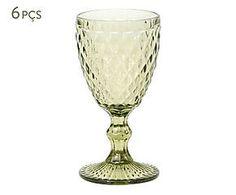Jogo de taças de vinho tinto anne verde - 350ml