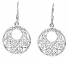 Shiny Circle Tracery Fashion Trends Sterling Silver French Earrings [ISE0022] #BKGjewelry #DropDangle
