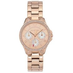 Juicy Couture Women's Gwen Crystal Stainless Steel Watch ($124) ❤ liked on Polyvore featuring jewelry, watches, pink, pink crystal jewelry, stainless steel jewellery, crystal stone jewelry, juicy couture jewelry and crystal watches