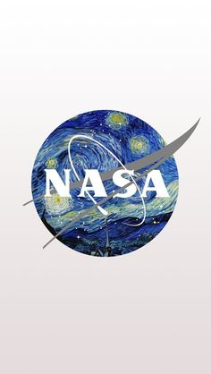 Begin my Aerospace Engineering Internship at NASA. NASA's logo reimagined with Vincent Van Gogh's Starry Night, by Eisen Bernardo. Logo D'art, Popular Logos, Famous Logos, Grafik Design, Vincent Van Gogh, Modern Logo, Oeuvre D'art, Cute Wallpapers, Iphone Wallpaper