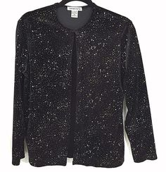 Notations M Black Velour Top Built In Cami Gold Silver Sparkles Party Holiday #Notations #Twinset #EveningParty
