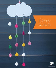 diy: make a colorful mobile on a cloudy day!