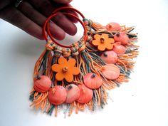 Orange tassels hoop earrings Hippie earrings Boho Earrings