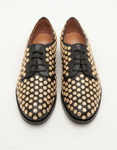 flower studded oxford shoes
