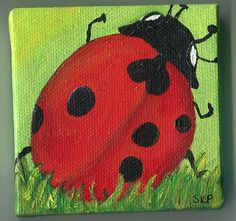 Lady bug in the grass painting original mini by SharonFosterArt, $20.00