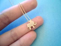 cute, Lucky Elephant, Gold Plated, Necklace | simplecrystal - Jewelry on ArtFire
