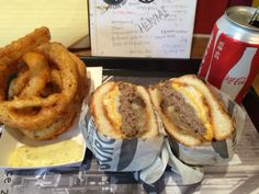 hamburger and onion ring