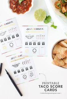 Love tacos? These free printable score cards are the perfect accompaniment to any taco tour! Rate each restaurant and keep track of your favorites!
