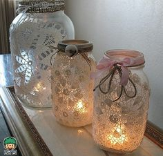Mason jar crafts are infinite. Mason jars are usually used for decorators, wedding gifts, gardening ideas, storage and other creative crafts. Here are some Awesome DIY Mason Jar Crafts & Projects that can help you reuse old Mason Jars for decoration Lace Mason Jars, Mason Jar Crafts, Fun Crafts, Diy And Crafts, Arts And Crafts, Decor Crafts, Craft Projects, Craft Ideas, Project Ideas