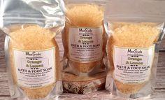 Orange and Lemon Bath and Foot Soak, 8oz, Solar Sea Salt Soak, Magnesium Soak, European Spa Salts, Vegan Bath Salts by MacSudsBody on Etsy