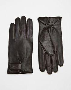 Handschuhe von Hugo Boss geschmeidiges Leder verstellbarer Riegel mit Logo elastische Bündchen mit geeignetem Pflegemittel behandeln 100% echtes Leder