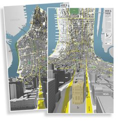 Here&There - a horizonless projection in Manhattan by BERG, exploring speculative projections of dense cities #map #NYC #geographyteacher