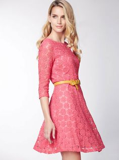 Morpheus Boutique  - Pink Flora All Lace Hemline Pleated Designer Dress