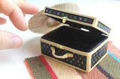 OOAK LVmulti black travel bag trunk miniature purse dollhouse openable handbag #handmade