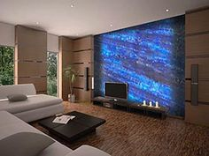 wall with crystal blue onyx