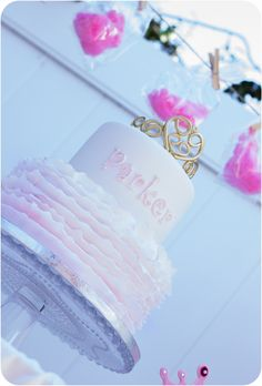 Gorgeous cake at a Princess Birthday Party Ideas!  See more party ideas at CatchMyParty.com!
