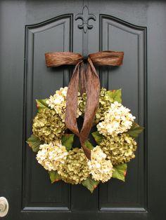 Wreaths - Hydrangea Wreath - Hydrangea Blooms - Wedding Decor - Wreath for Spring. $85.00, via Etsy.