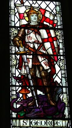The Crusader window detail of St George in the Church of St Thomas and St Edmunds @ Salisbury, Wiltshire, UK. It is recorded that St George came to the assistance of crusaders on both the first and the third crusades. Medieval Stained Glass, Stained Glass Church, Stained Glass Angel, Stained Glass Windows, Patron Saint Of England, Saint George And The Dragon, Wine Bottle Wall, Church Windows, Glass Wall Art