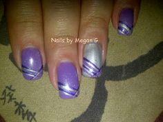 purple and silver nail art
