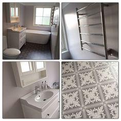 «Badrummet efter. #renovering #badrum #badkar #bathroom #inspo @sandholmsfarg #badrumsinspo #myhome #myhouse #hemnes #ikea #tarkett»