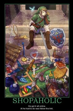 Link's just so boss, he can fit all of that equipment on himself, and he only sinks if he's physically wearing the iron boots.