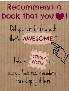 Sticky note book recommendation poster #SchoolLibraryMediaSpecialist #schoollibrary