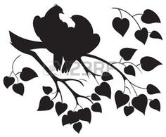 Vector silhouette of love birds sitting on branch tree photo