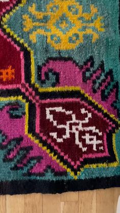 Romanian rug handmade in wool and cotton, in beautiful colors tinted with natural pigments, beautiful shadows of turquoise, green, pink and magenta, exquisite design. Wool Carpet, Rugs On Carpet, Handmade Rugs, Handmade Items, Handmade Gifts, Vintage Rugs, Vintage Items, Rug Making, Wool Rug