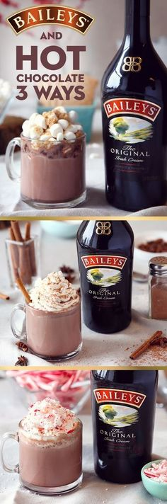 Cozy up on the couch with a warm homemade dessert drink. These 3 easy twists on the classic Baileys and hot chocolate recipe are the perfect treat. Whether you like to make your cocoa in a crockpot or stovetop, these generous toppings—pumpkin spice with a Winter Drinks, Holiday Drinks, Holiday Treats, Holiday Recipes, Holiday Desserts, Dessert Drinks, Yummy Drinks, Yummy Food, Party Desserts