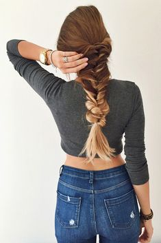 Thick voluminous messy everyday fishtail braid created with Dirty Blonde Luxy Hair Extensions on @lipskatron! Love how blonde extensions gives this hairstyle the perfect Fall Ombre effect!   Photo by: https://instagram.com/lipskatron/  #LuxyHairExtensions