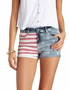 Flag Print High-Waisted Denim Shorts: Charlotte Russe