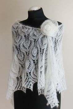 bridal knitted lace ivory shawl in mohair and silk by iveta67, Etsy