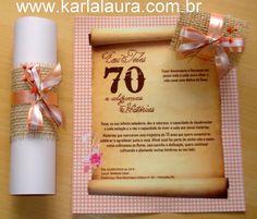 Karla Laura Convites, Lembranças e Papelaria Personalizada: Convite de aniversário rústico 70 anos - Eni Lopes...