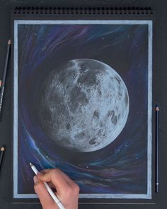 Stunning Moon Drawing🌑 Give your creativity a boost by making eye-catching drawings on Black Sketch Pads. Watercolor Art, Art Drawings Simple, Art Painting, Art Sketchbook, Art Drawings, Black Paper Drawing, Drawing Sketches, Moon Drawing, Pencil Art Drawings