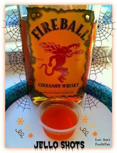 FIREBALL WHISKEY JELLO SHOTS 2 Cups Apple Cider 1 Small box Orange Jello 1 Cup Fireball Whiskey by Renee Medler