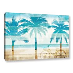 ArtWall Michael Mullan's Beachscape Palms I, Gallery Wrapped Canvas