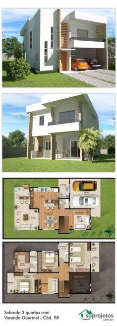 7 Modern House Plans Samples – Modern Home 3d House Plans, Modern House Plans, Small House Plans, Layouts Casa, House Layouts, Future House, Home Design Plans, Plan Design, Design Ideas