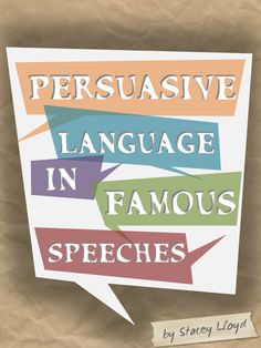 <<PEM>  > Students encounter persuasive language all the time, often without even realising it. One of the most obvious uses of persuasive language is in political speeches. These FIVE worksheets each focus on extracts from different political speeches and test students' knowledge of different persuasive language techniques.