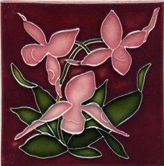Art nouveau tile and arts and crafts tile reproductions made by Porteous Tiles. Beautiful decorative ceramic tiles ideal for splashback, bathroom, kitchen, and fireplace. Antique Tiles, Vintage Tile, Antique Art, Azulejos Art Nouveau, William Morris Art, Art Nouveau Flowers, Art Nouveau Tiles, Art Tiles, Handmade Tiles