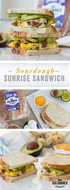 Sourdough Sunrise Sandwich: Love rye and sourdough breads? California Goldminer Sourdough Seeded Rye Square gives you the best of both worlds. Tangy, earthy, hearty and delicious. Toast up a couple slices and sandwich an egg, sausage, avocado and Cheddar cheese for a satisfying breakfast sandwich that will carry you through the day.
