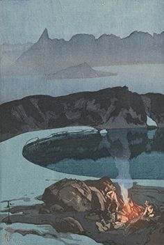 "Japanese Art Print ""Camping on Washiba Mountain (Washiba-Dake No Yaei)"" from the Series ""Japanese Alps, One of Twelve Subjects"" by Yoshida Hiroshi. Shin Hanga and Art Reproductions http://www.amazon.com/dp/B010VFLINQ/ref=cm_sw_r_pi_dp_5.Tuwb1PEB068"