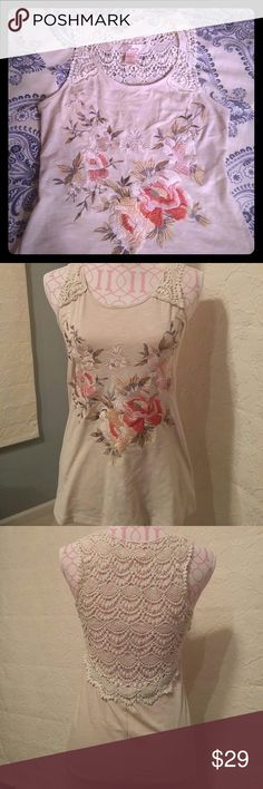 Super cute embroidered top Like NEW top. Embroidered front, lace back. Cotton/Poly blend. Freeway Tops Tank Tops
