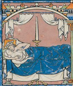 13th century (1240s) France - Paris Morgan Library.The Morgan Bible AKA the Maciejowski Bible. David lays with Batsheba