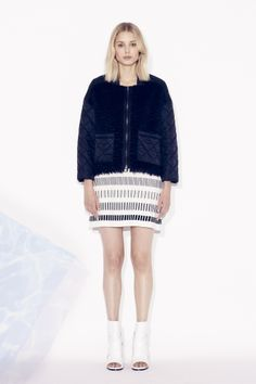 Tess Giberson Quilted Jacket with Mohair and Fragmented Striped Knit Dress